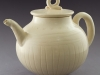 White teapot, inscribed lines